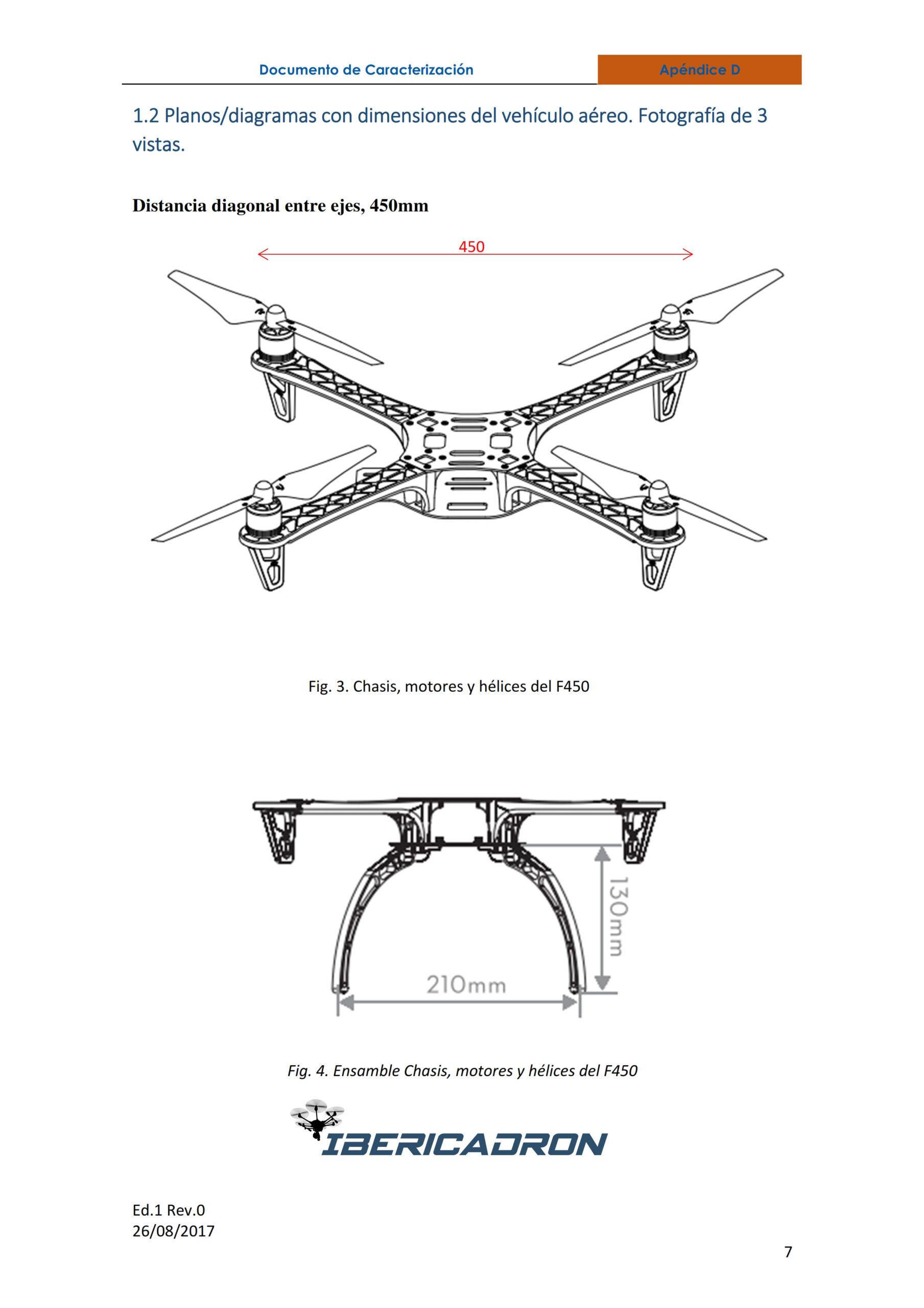 Documento de caracterización dron F450